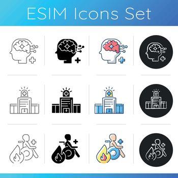 Urgent health care icons set