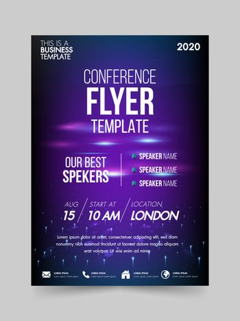Brochure design flyer template technology conference geometric shapes design layout, annual report, magazine, poster, corporate report, banner, website.