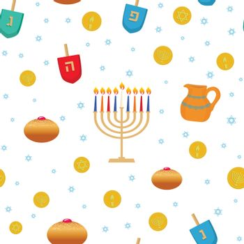 Jewish holiday Hanukkah traditional symbols dreidels, spinning top, Hebrew letters, donuts, menorah, candles, coins, oil jar, star David seamless pattern for greeting cards, wallpapers, gift paper.