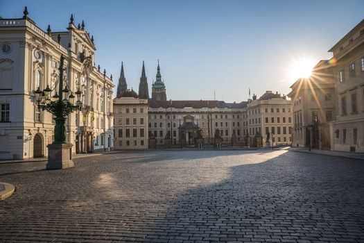 Prague castle Located in the Hradcany district is the official residence and office of the President of the Czech Republic, Hradcanske square. Lockdown trime due to pandemic. There is nobody.