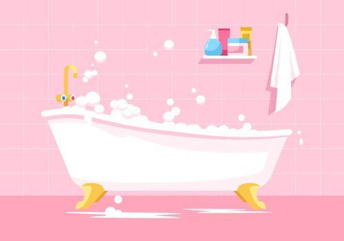 Pink bathroom semi flat vector illustration