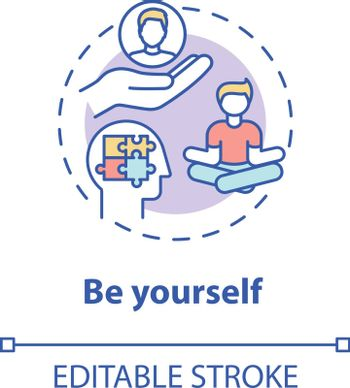 Be yourself concept icon. Psychological wellbeing. Mindful individual. Student mental health. Self acceptance idea thin line illustration. Vector isolated outline RGB color drawing. Editable stroke