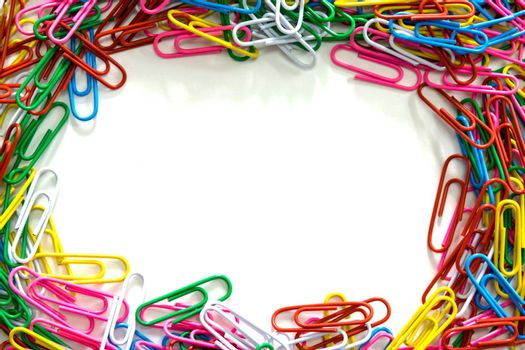 Group of paperclip on white background.