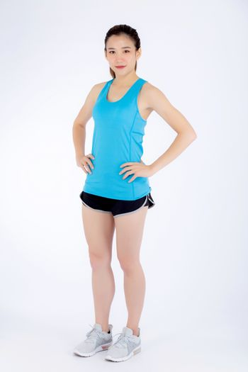 Full-length beautiful portrait young asian woman in sport clothi