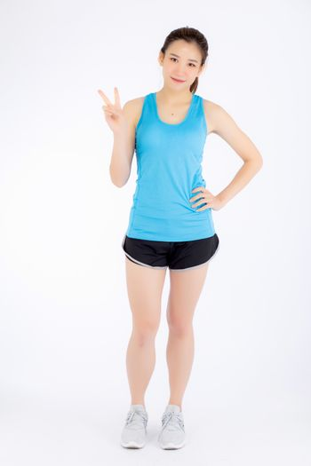 Full-length beautiful portrait young asian woman happy and smile