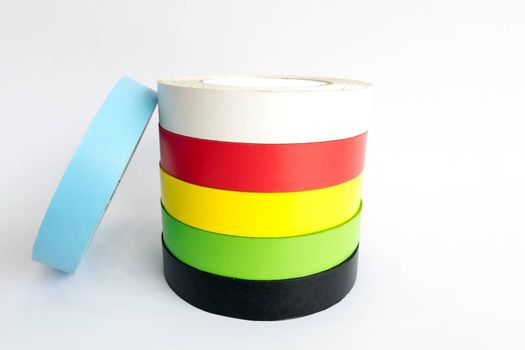 Colorful fabric adhesive tapes isolate on white background.