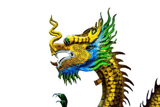 Beautiful dragon statue on white background.