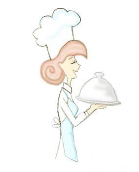 Cartoon Waitress Holding a Dish - isolated doodle illustration
