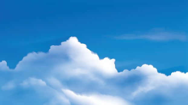 vector illustration of cumulus clouds on the bright blue sky