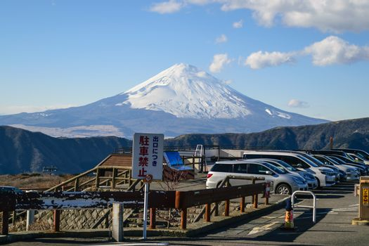 On a clear day in the winter near Mount Fuji in Japan.