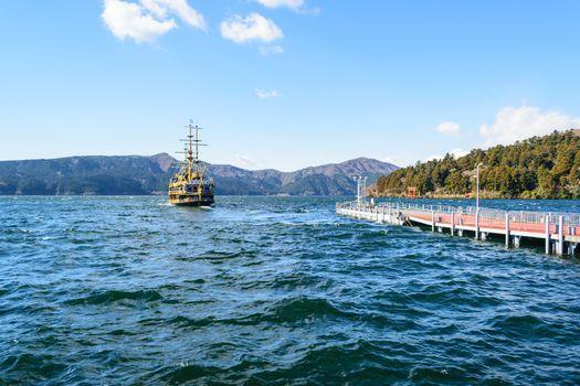 Old Brig In a lake in Japan.