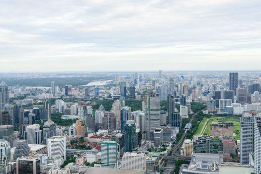 Bangkok Thailand expressway and skyline aerial view.