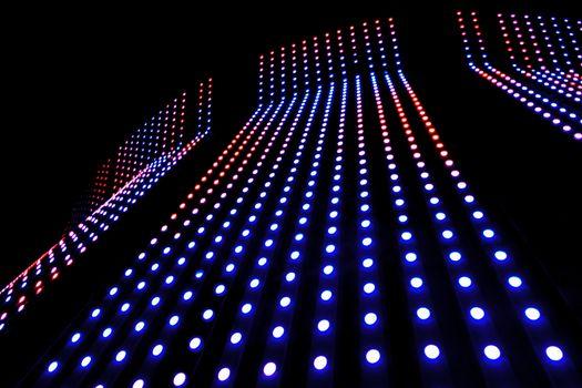 Colerful LED lighting on black background.