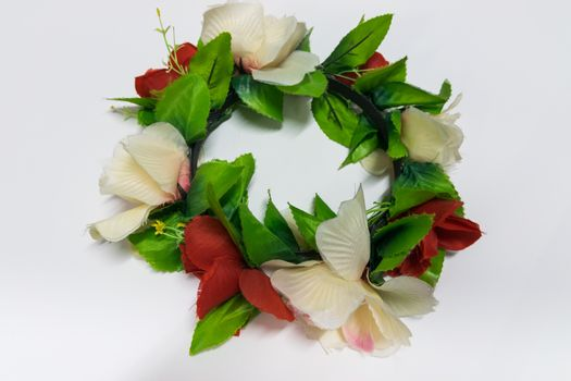 Colorful flower garland with white background.