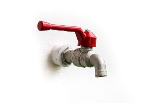 Tap Water red handle at home.