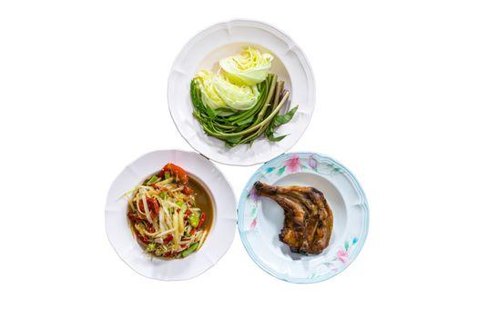Food northeastern Thailand grilled chicken salad.
