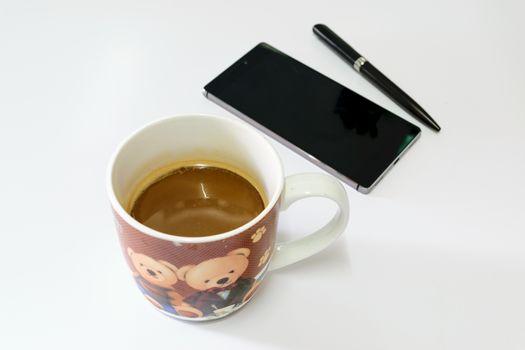 Hot coffee a good breakfart for working people.