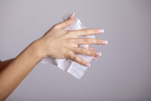 Cleaning hands with wet wipes, prevention of infectious diseases, corona19