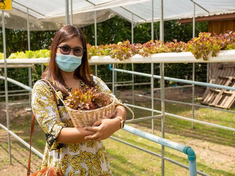 A woman wearing a mask Holding organic vegetable storage basket in the garden