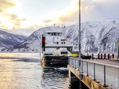 Fjord1 Fylkesbaatane ferry from Vangsnes to Dragsvik Fergeleie in Norway.