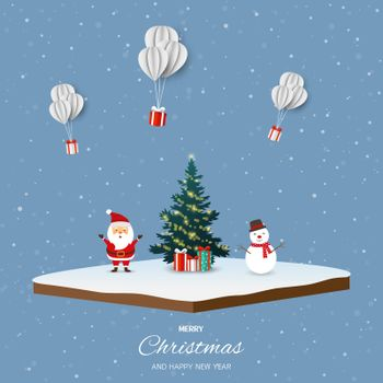 Merry Christmas and happy new year with Santa Claus,snowman and gift boxes on isometric landscape background,vector illustration