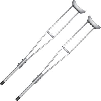 Standard medical crutches for disabled people. Medical equipment