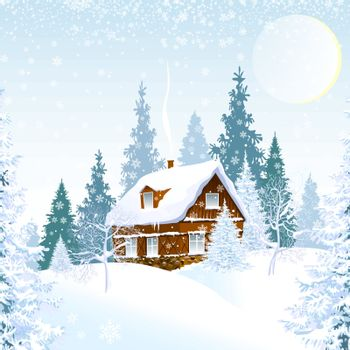 Winter. House in a snowy forest. Winter night. Snow, snowflakes.