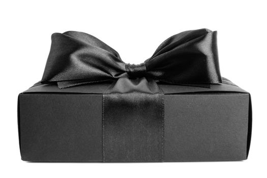 Black friday gift, paper box with silk ribbon bow isolated on white background
