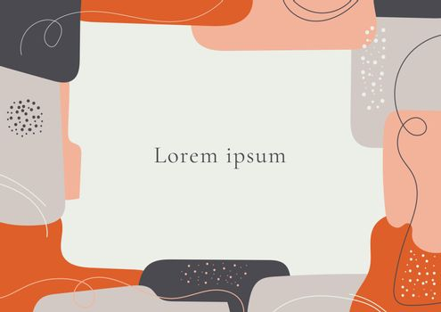 Abstract template creative hand drawn geometric with line and dot background in minimal trendy style with space for your text. Vector illustration