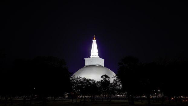 Ruwanwelisaya maha stupa night photograph, Anuradhapura Sri Lanka