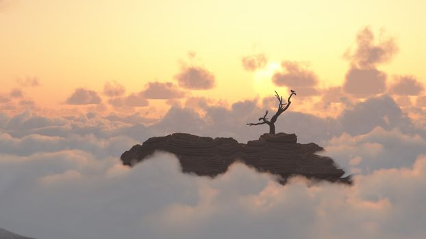 Mountain Sunrise. Bird on a dry branch. 3D rendering