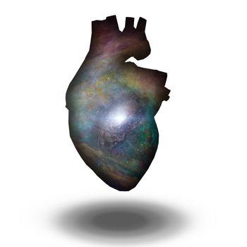 Interstellar Galaxy Heart. 3D rendering