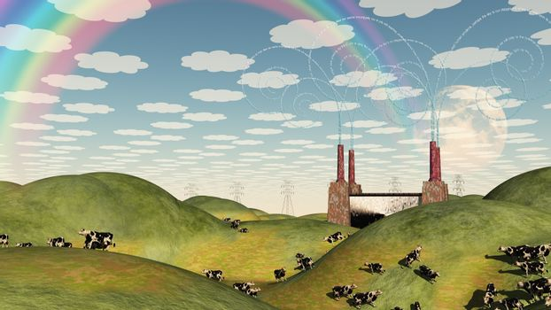 Hilly pastures with Factoy and Cattle. 3D rendering