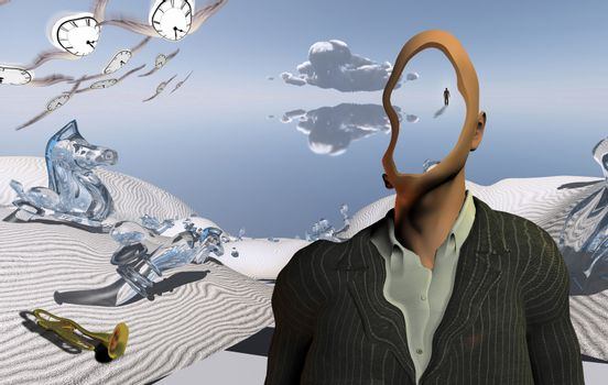 Surreal desert with chess figures and trumpet. Faceless man in suit and winged clocks. Figure of man in a distance. 3D rendering