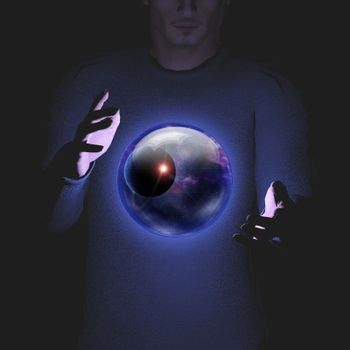 Man holds planet and space in sphere between his hands. 3D rendering