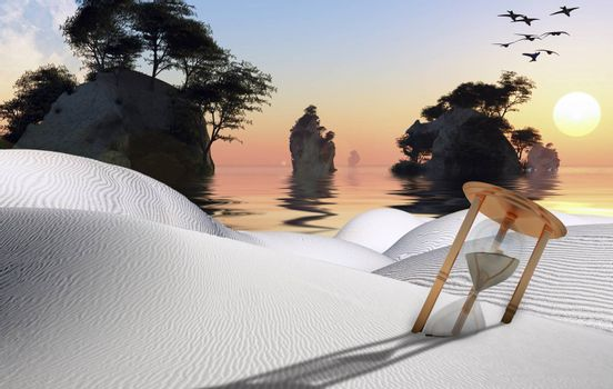 Surreal white desert with hourglass. Beautiful sunset over islands. 3D rendering