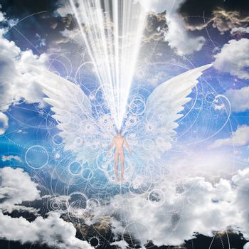 Angelic being and light. 3D rendering