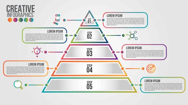 Pyramid infographic colorful template with 5 steps or options concept.Each part contains unique number, icon and space for own text or other purposes.Can be used for web, diagram, graph, presentation.