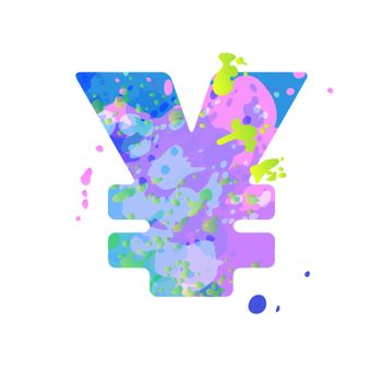 Special symbol yen sign with effect of liquid spots of paint in blue, green, pink colors, isolated on white background. Decoration element for design of a flyer, poster, calendar, cover, title. Vector EPS10