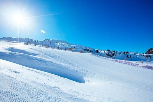 Dolomites winter mountains ski resort
