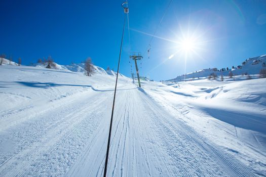 T bar ski lift in European Alps