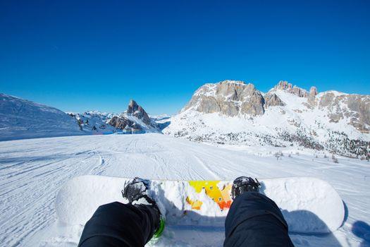 Snowboarder sitting on slope