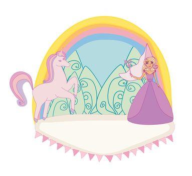 Unicorn and fairy - girlish icon, doodle illustration