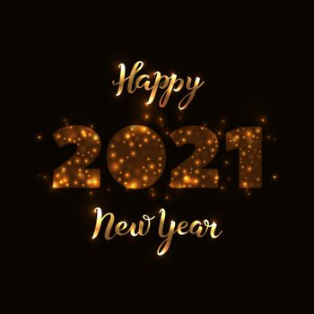 2021 Happy New Year banner wiht brush calligraphy hand lettering gold on a black background. Drawn art sign. Template for banner, poster, flyer, greeting card, web design.