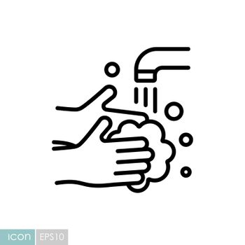 Washing hands with soap to prevent virus and bacteria vector icon. Coronavirus. Graph symbol for medical web site and apps design, logo, app, UI