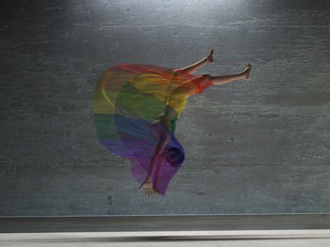Action girl with rainbow transparent cloth. 3D rendering