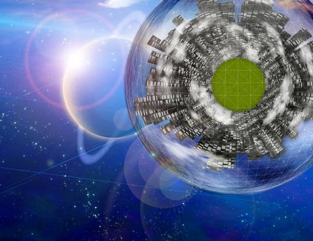Large city ship orbits in space. 3D rendering