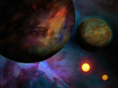 Exo-Solar Planet Painting. 3D rendering