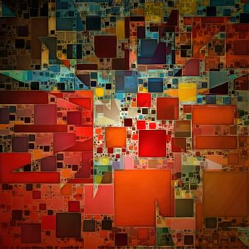 Colorful Painterly Abstract. 3D rendering