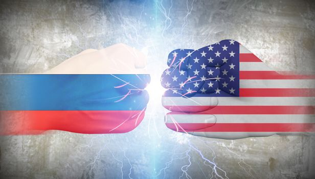 USA vs Russia fists. 3D rendering